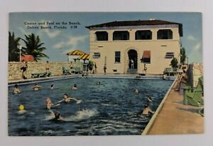 Postcard-Linen-People-Swimming-at-Casino-and-Pool-on-the-Beach-Delray-Florida