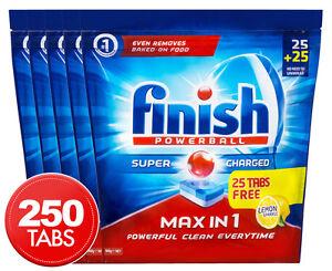 5 x 50pk Finish Max in 1 Powerball Super Charged Dishwashing Tabs Lemon Sparkle
