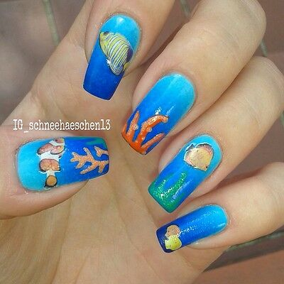 Colorful Sea Fish Shell Nail Art Water Decal Transfer Decoration New
