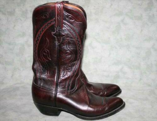 Lucchese Burgundy Red Leather Cowboy Boots 112E