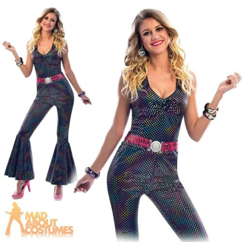 Ladies Disco Diva Costume 1970s Groovy Jumpsuit Adults Fancy Dress Outfit Womens
