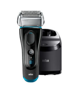New Braun Series 5 Wet/Dry Electric Shaver Silver/Black Plus Clean & Charge Sta