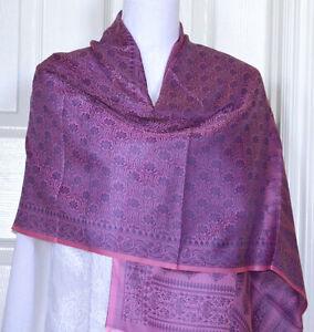 Banaras-Silk-Pink-Color-Woven-Paisley-Floral-Design-Shawl-Wrap-Stole