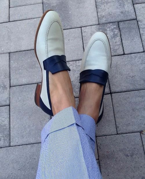 Handmade Two tone Formal schuhe, Men Weiß and Blau leather leather leather moccasins loafer 97af81