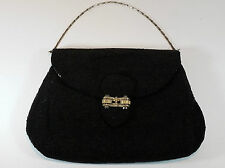 Superb 1930's Art Deco Silver Plated Frame Diamante Black Silk Beaded Bag France