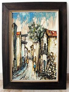 Oil-on-Canvas-Framed-Painting-Old-Village-Cityscape-Signed-Impressionism