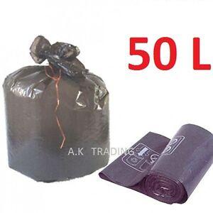 1 Lots De 200 Sacs Poubelle Noir 50 L Litres De Forte Epaisseur 50% De RéDuction
