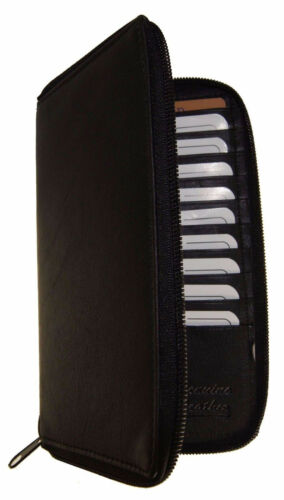 Black RFID Signal Blocking Leather Wallet Checkbook Cover Zip Around Card Holder