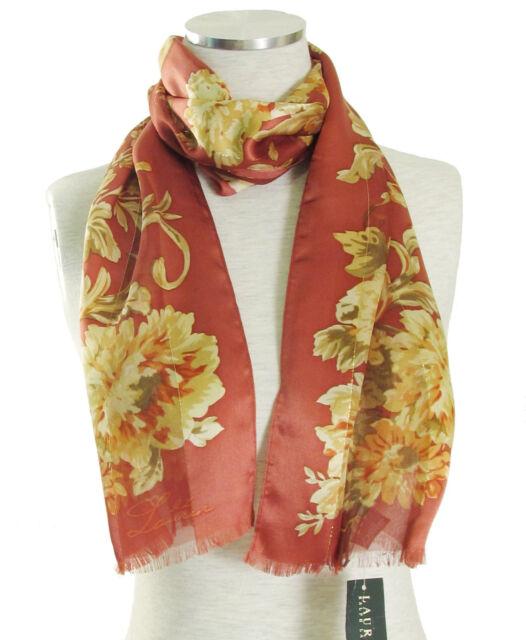4eb37771be Ralph Lauren Women s  CHANTELLE  Silk Striped Floral Scarf in Heritage ...