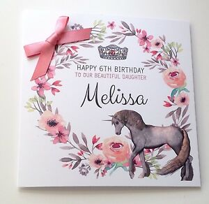 Image Is Loading Personalised Unicorn Birthday Card Daughter 7 8th 9th