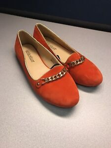 cb75e6cdf73 Olivia Miller Womens Orange Suede Dress Casual Chained Loafers Flats ...