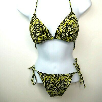 d51d42c4b54 RARE Victoria's Secret Zebra Animal Print Cheeky Ruched String Tie Bikini  Set M | eBay