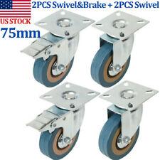 4x 3 Rubber Swivel Castor Wheels Furniture Trolley Caster 2 Brakes Heavy Duty