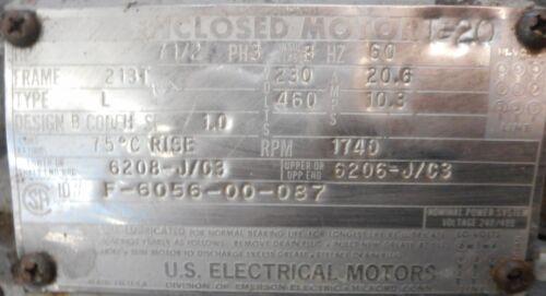 F-6056-00-087 60HZ US ELECTRICAL MOTORS 7 1//2HP PH 3 ENCLOSED MOTOR
