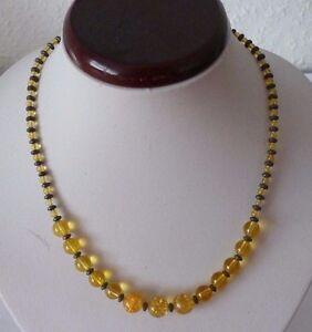 Edelstein-Kette-aus-Haematit-und-Citrin-Perlen-Kugeln-Laenge-ca-43-5cm-5cm