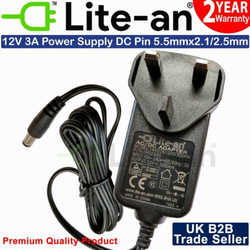 Lite-an AC TO DC 12V 1A 2A 3A 4A LED Power Supply Adapter Transformer UK Plug