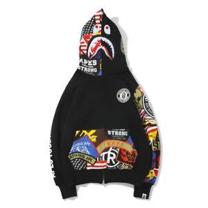 NEW-Graffiti-A-Bathing-Ape-Bape-Cotton-Jacket-Shark-Head-Hoodie-Coat-Sweatshirts