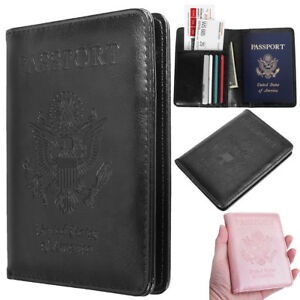 Premium-Leather-RFID-Blocking-Passport-Travel-Wallet-Holder-ID-Cards-Cover-Case