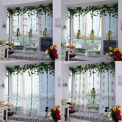 Embroidered flowers Tulle Window Screens Door Balcony Curtain Sheer Hoc