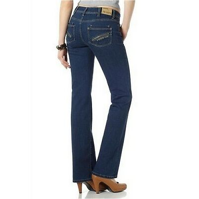4Wards Jeans NEU  Gr.34-44 Damen Stretch Bootcut Tinted Blau Used Samba Hose L32