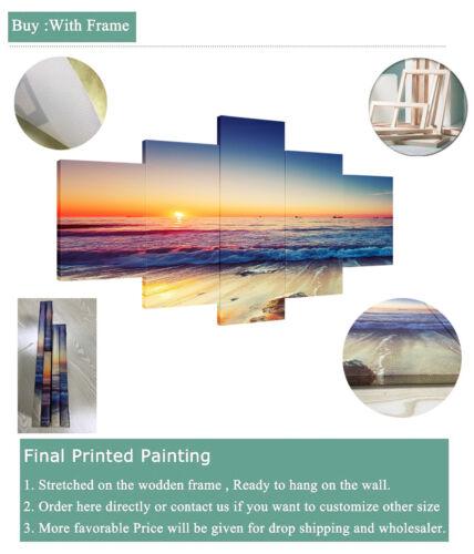 Natural Blue Ocean Sea 5 Pieces Canvas Wall Art Paint Pictur Poster Home Decor