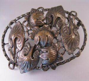 Antique-Victorian-Art-Nouveau-Lily-Sash-Brooch-Silver-Plate-on-Brass-Jewelry
