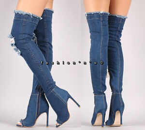 5e57e99b2d4 Details about Dark Stretch Denim Thigh High Over Knee Ripped Jean Boots  Open Toe High Heel