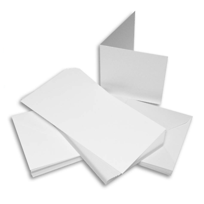 50 x C6 SIZE WHITE DECKLED BLANK CARDS 250gsm /& ENVELOPES CARD MAKING CRAFT 283