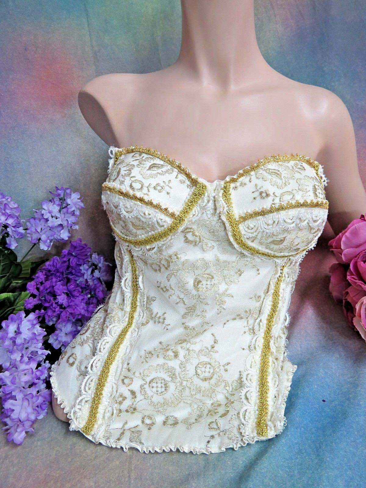 Carol Lee Designer Top Corsetto Galleria di Indossabile Arte oro oro oro Ricamato Rete c56c6c