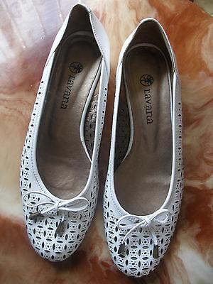 lavana zapato calados blanco piel natural,chica mujer nº 40 nuevo FELIZ NAVIDAD