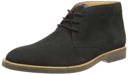 Men/'s Clarks Atticus Limit Plain Lace Up Chukka Boot Black Nubuck 26136738