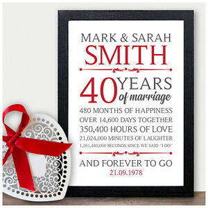40th Wedding Anniversary Gifts.Details About 40th Wedding Personalised Anniversary Gifts 40 Wedding Anniversary Presents Ruby