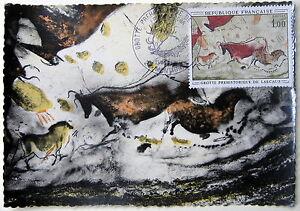 CARTE-POSTALE-PREMIER-JOUR-Y-amp-T-N-1555-GROTTE-DE-LASCAUX-MONTIGNAC-13-juin-1968