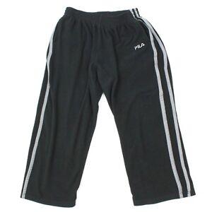 00b2d492474f FILA Fleece Athleisure Pants Mens large Black Track Pants Straight ...