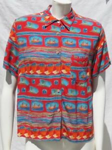 LOCO-LINDO-USA-Print-French-Rayon-Button-Up-S-S-Shirt-Blouse-Top-US-M-L-EUC