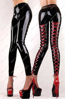 796 Latex Gummi Rubber Leggings strings pants trousers lace up customized 0.4mm