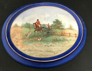 Antique-Hand-Painted-Porcelain-Plaque-Plate-JBH-Czechoslovakia