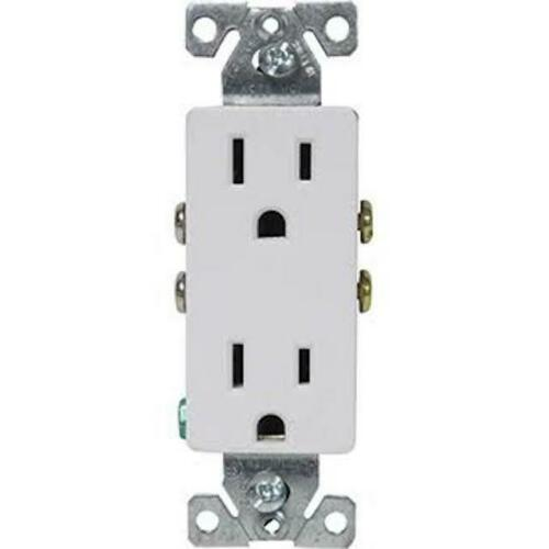 10-Pack Cooper Wiring 1107W Decorator Receptacle Duplex NEMA 5-15R 15A 125V