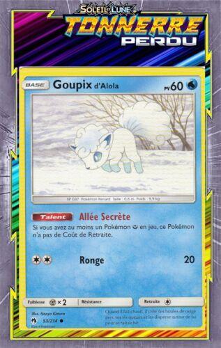 53//214 SL08:Tonnerre Perdu Goupix d/'Alola Carte Pokemon Neuve Française