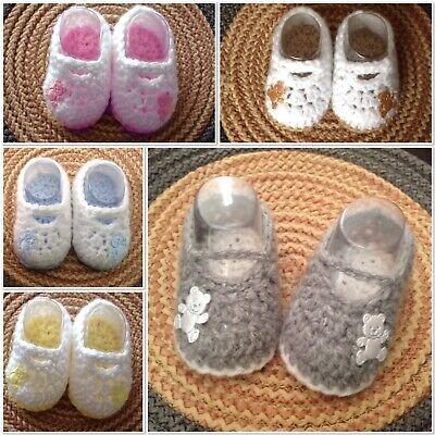 899be73141b2d Hand Crochet Baby Boy girl teddy booties Shoes boots silver grey blue pink  0-6 m | eBay