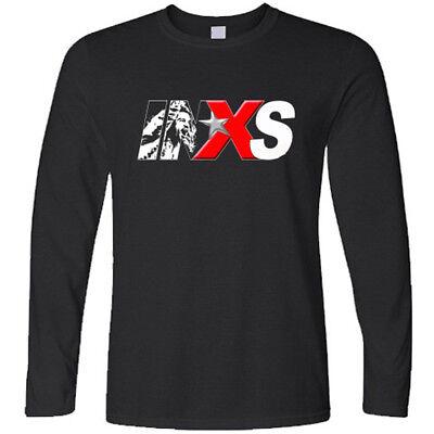 New INXS Australian Rock Band Logo Long Sleeve Black T-Shirt Size S to 3XL
