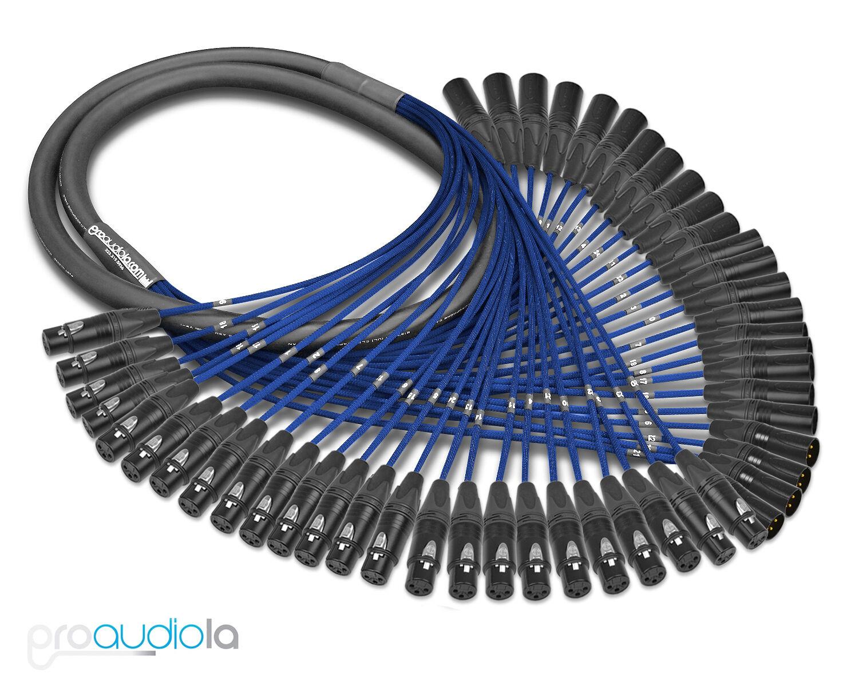 Premium Mogami 2936 24 Channel Snake   Neutrik Gold XLR-F XLR-M   Blau 18 Feet