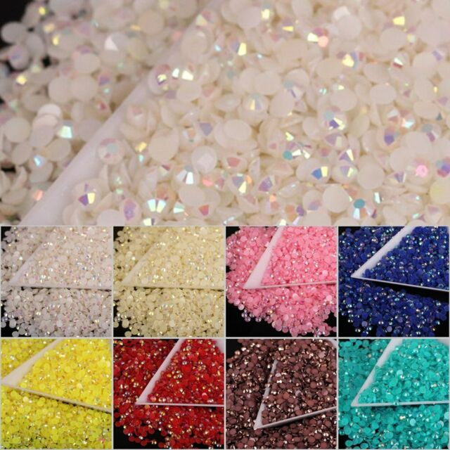 Diy 1000pcs 4mm 14 Facets Resin Rhinestone Gems Flat Back Crystal Beads U Pick