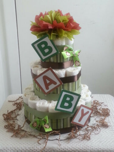 3 Tier B-A-B-Y Monkey Diaper Cake Baby Shower Gift Centerpiece