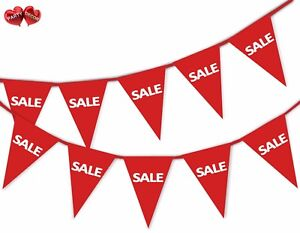 SALE-Red-Bunting-Banner-15-flags-For-any-shop-retail-sale-and-commercial-site