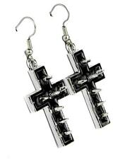 Silver Cross Spike Earrings w Black Inlay Cosplay Gothic Punk Metal Alternative