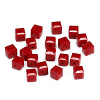 20pcs China red 6mm Faceted Square Cube Cut glass crystal Spacer beads
