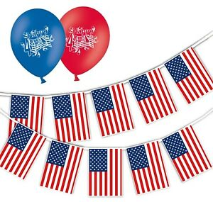 Independence-Day-USA-Flags-Bunting-amp-12-034-Asst-Balloons-Happy-4th-pack-of-25