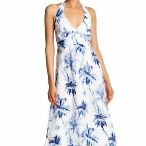 Tommy-Bahama-Linen-Palm-Print-Halter-Maxi-Dress-size-Small