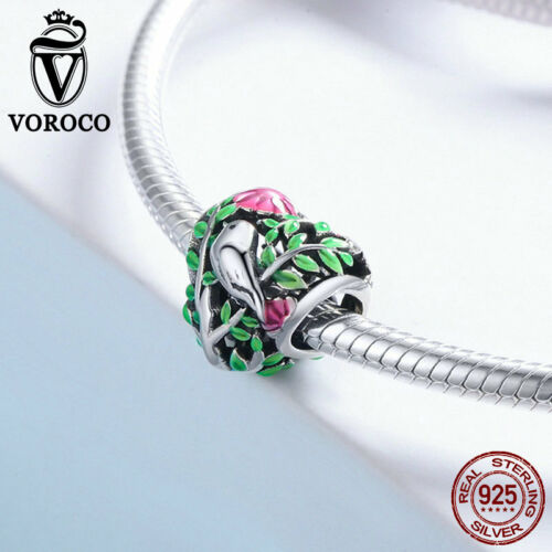 Voroco Colorful Bird Forest Charm 925 Sterling Silver Bead For Women Snake Chain